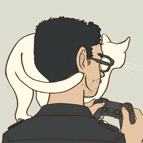 A cartoon picture of the back of a man's head; he's dark haired and olive skinned, wearing a black shirt and glasses. A white cat is standing on his shoulder and he's holding a video game controller.